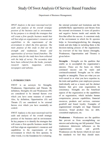 business management study swot analysis