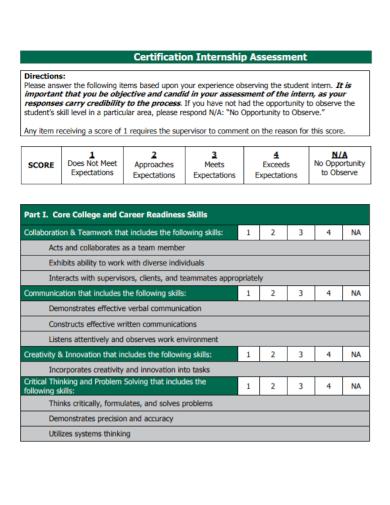 certification internship assessment