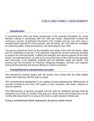 child and family assessment