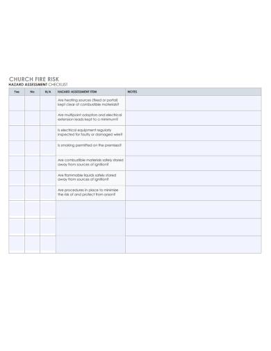 church fire risk assessment checklist