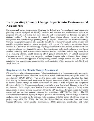 climate change impact environmental assessment