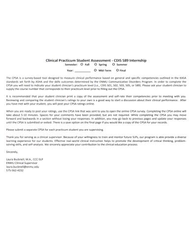clinical internship student assessment