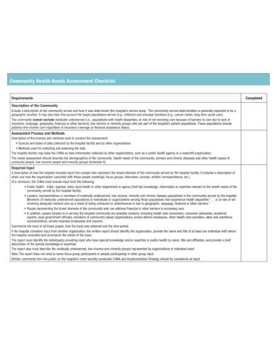community health needs assessment checklist