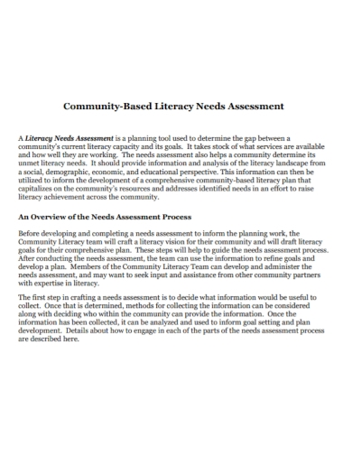 community literacy needs assessment