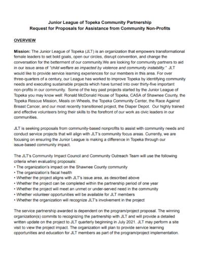 community non profit partnership proposal