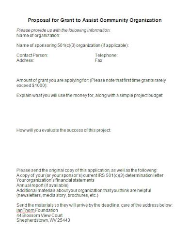 community organization grant proposal