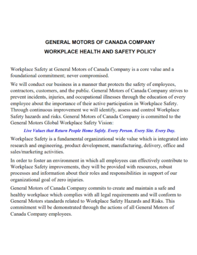 company workplace health and safety policy