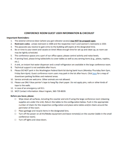 conference guest room checklist