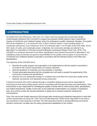 construction quality control assurance plan