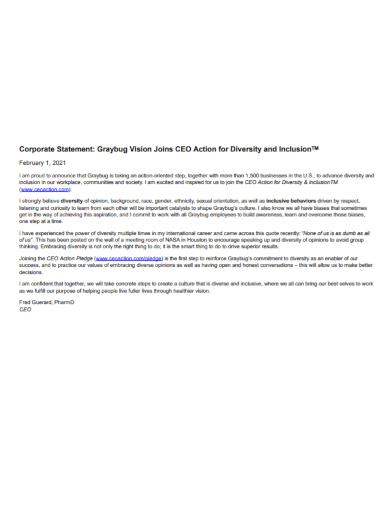 corporate action diversity statement