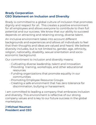 corporate diversity ceo statement