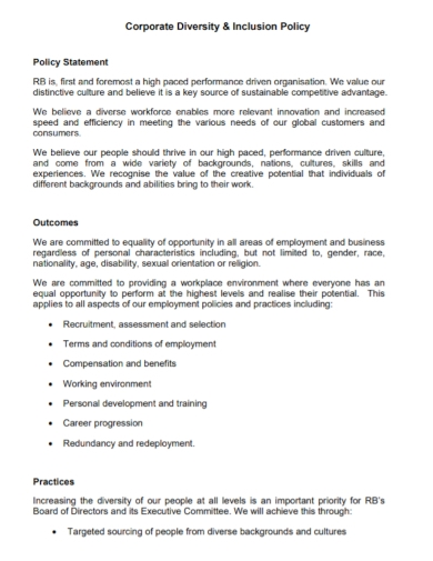 corporate diversity inclusion policy statement