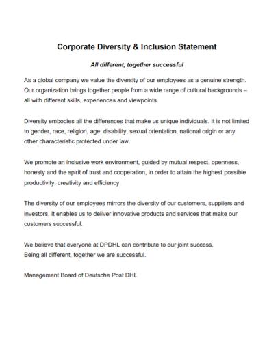 corporate diversity inclusion statement