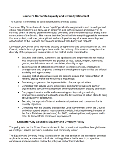 corporate equality diversity statement