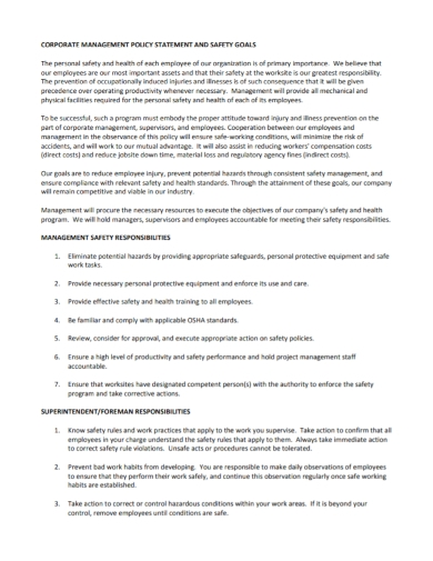 corporate safety management policy statement