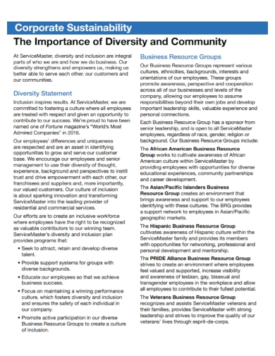 corporate sustainability diversity statement