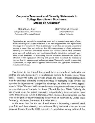 corporate teamwork diversity statement