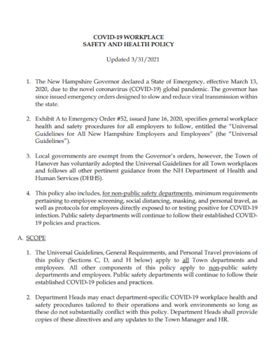covid 19 workplace health and safety policy