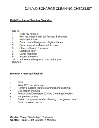 daily discharge cleaning checklist