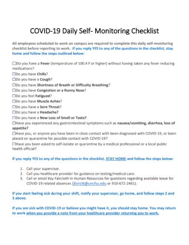 daily self monitoring checklist