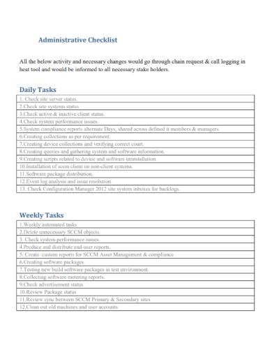 daily task administrative checklist