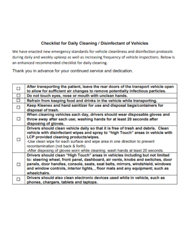 daily vehicle cleaning checklist