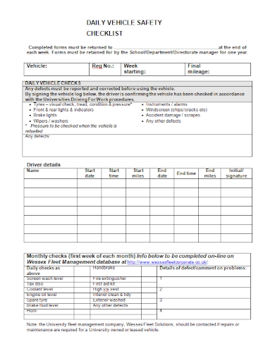 daily vehicle safety checklist