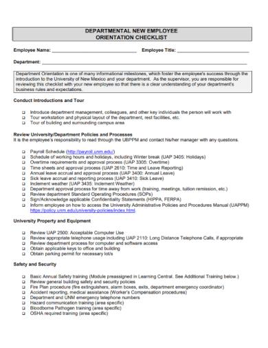 departmental new employee orientation checklist