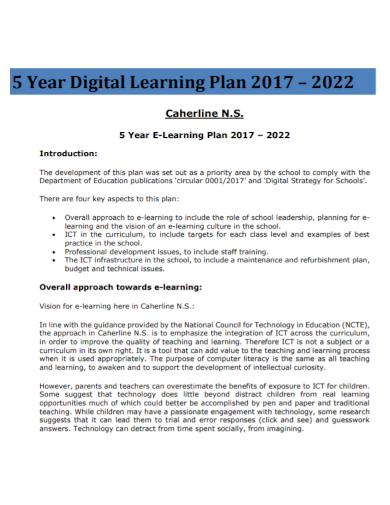 digital e learning plan