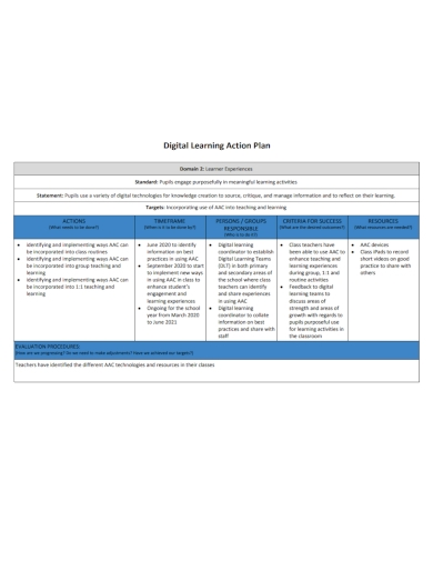 digital learning action plan