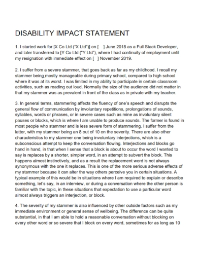 disability impact statement