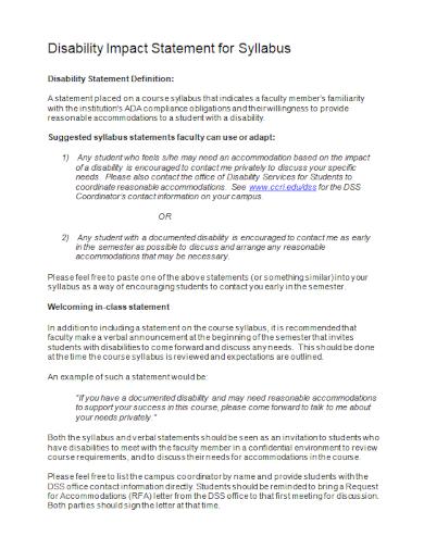 disability impact syllabus statement