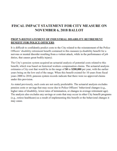 disability retirement fiscal impact statement
