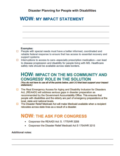 disaster planning disability impact statement