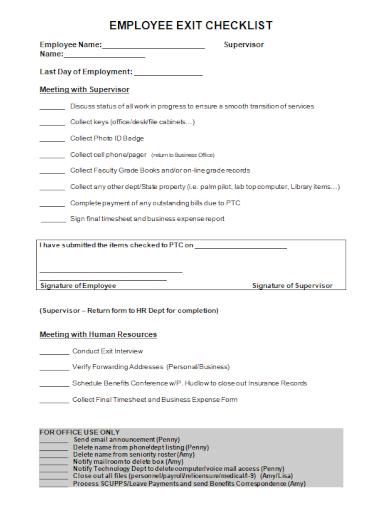 editable employee exit checklist
