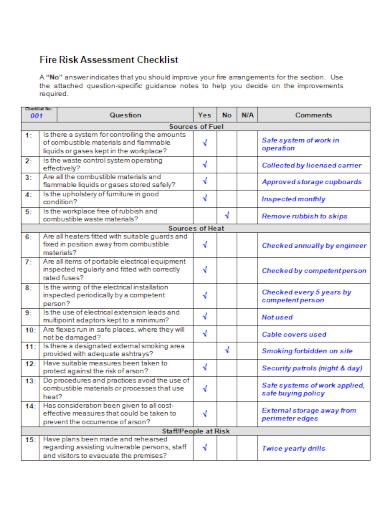 editable fire risk assessment checklist