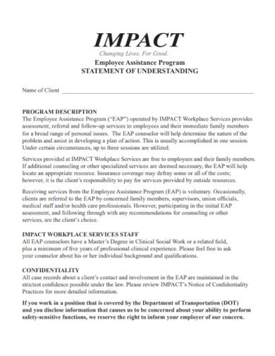 employee assistance program impact statement