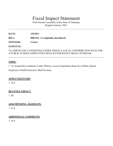 employee fiscal impact statement