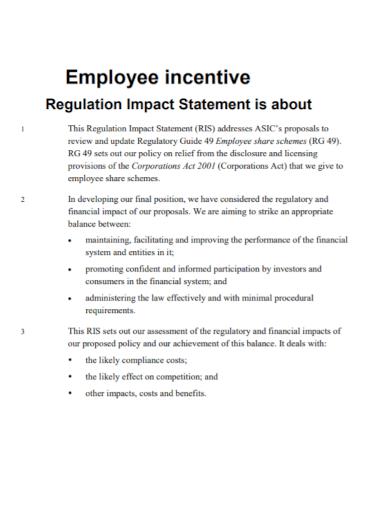 employee incentive regulation impact statement