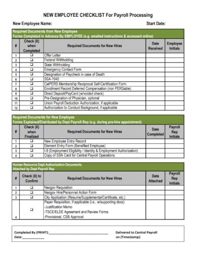 employee payroll processing checklist