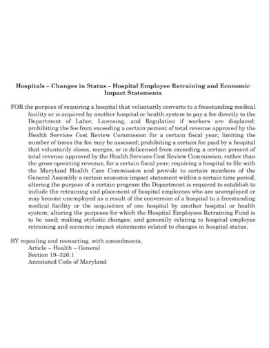 employee retraining economic impact statement