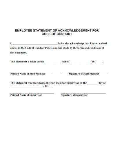 employee statement of acknowledgement