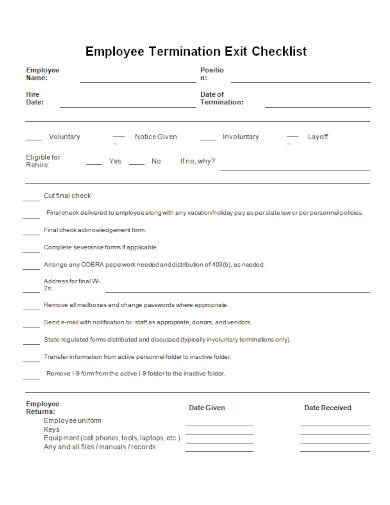 employee termination exit checklist