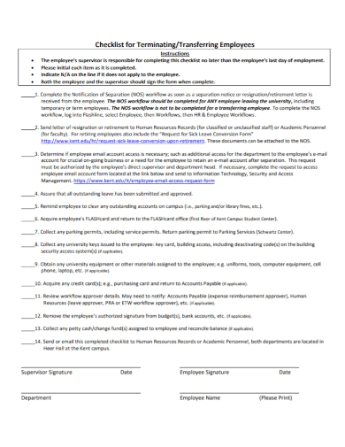 employee termination transferring checklist
