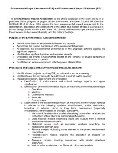 environmental impact method assessment