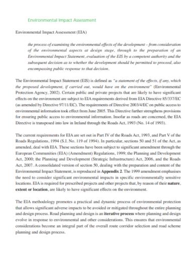 environmental impact statement assessment