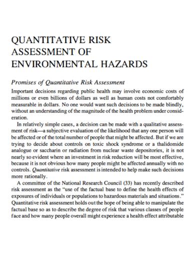 environmental quantitative risk assessment