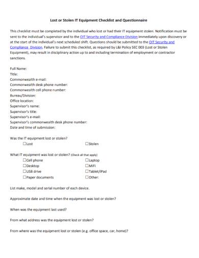 equipment questionnaire checklist