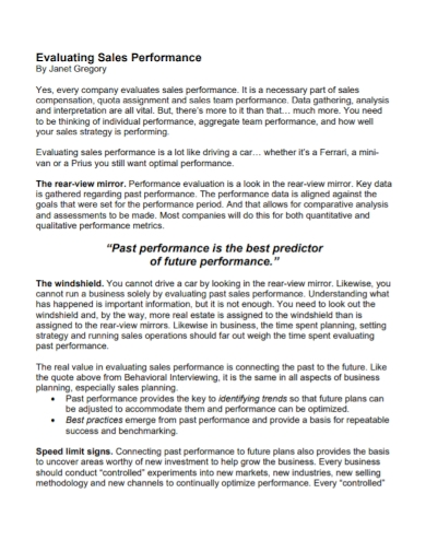 evaluation of sales performance