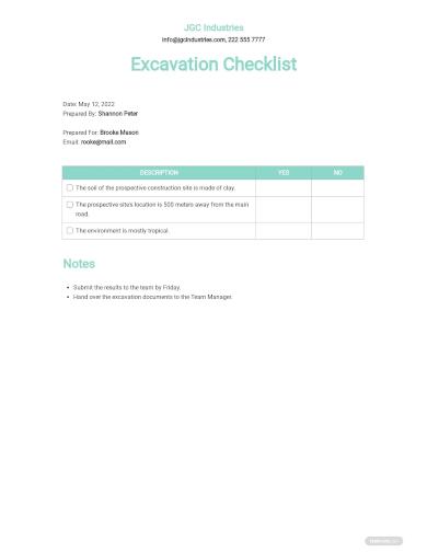 excavation checklist template